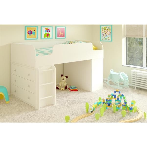 Altra Elements White Loft Bed with Two Dressers by Cosco
