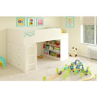 Altra Elements White Loft Bed with Bookcase and Dresser by Cosco