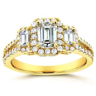 Annello 14k Yellow Gold 1 1/5ct TDW Three Stone Emerald Diamond and Halo Engagement Ring (H-I, SI)