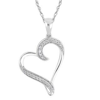 10k White Gold 1/8ct TDW Diamond Heart Necklace (I1-I2, H-I)