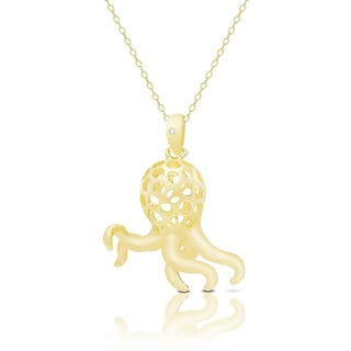 Finesque Gold Over Sterling Silver Diamond Accent Octopus Necklace
