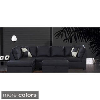 Brody PU Leather Sectional with Matching Ottoman