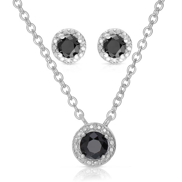 Finesque Sterling Silver Black Diamond Circle Necklace and Earrings Set