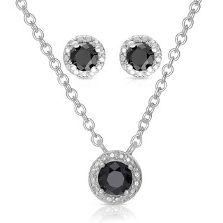 Finesque Sterling Silver 1ct TDW Black Diamond Jewelry Set with Red Bow Gift Box