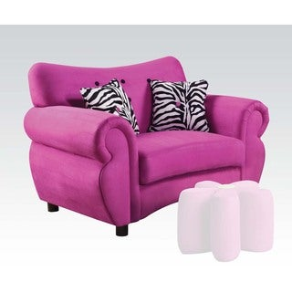 Lozova Pink Microfiber Youth Chair