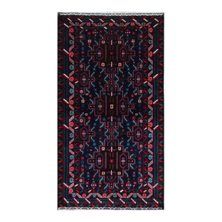 Herat Oriental Afghan Hand-Knotted Tribal Balouchi Navy/ Turquoise Wool Rug (4' x 7'1)