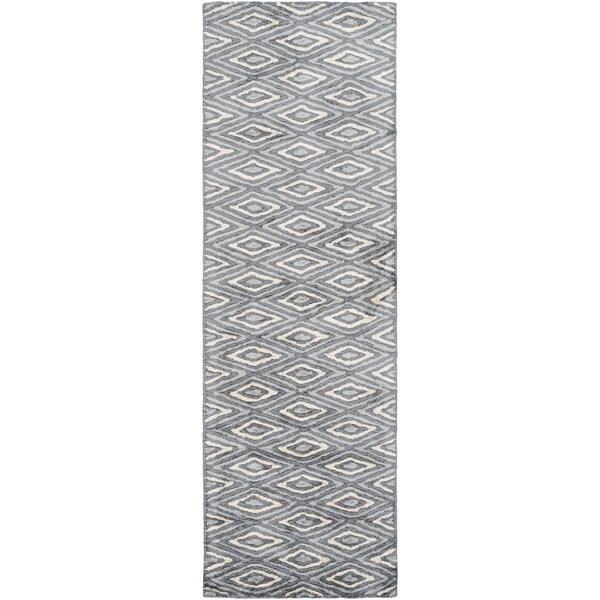 Hand-Woven Grimsby Geometric Viscose Rug (2'6 x 10')