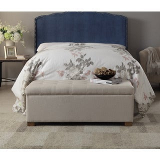 HomePop Large Tufted Storage Bench in Beige