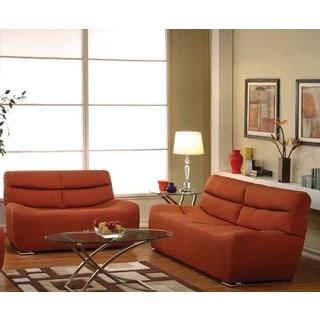 Stryi Orange Linen 2-piece Living Room Set