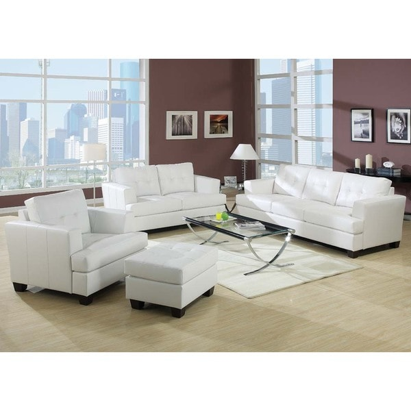 Kalush White Bonded Leather 3-piece Living Room Set