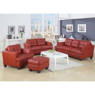 Kalush Red Bonded Leather 3-piece Living Room Set