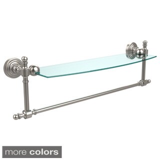 Retro Wave Collection 18-inch Glass Vanity Shelf with Integrated Towel Bar