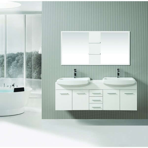 ica furniture selena 63 inch marble top white modern bathroom vanity