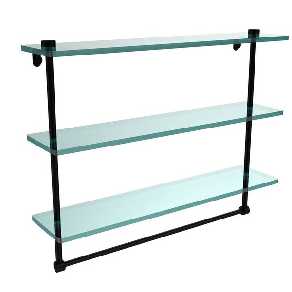 22-inch 3-tiered Glass Shelf with Integrated Towel Bar