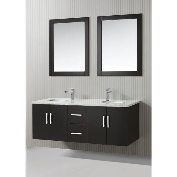 ica furniture zora 59 inch marble top espresso modern bathroom vanity