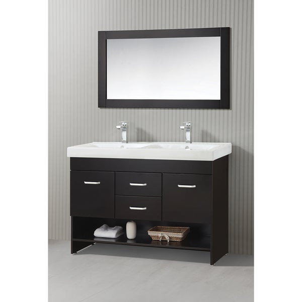 ica furniture natalia 47 inch espresso modern bathroom vanity with