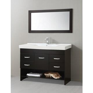 ICA Furniture Natalia 47-inch Espresso Modern Bathroom Vanity with Mirror