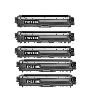 Compatible Brother TN221/ HL-3170CDW/ HL-3140CW/ MFC-9130CW Black Toner Cartridge (Pack of 5)