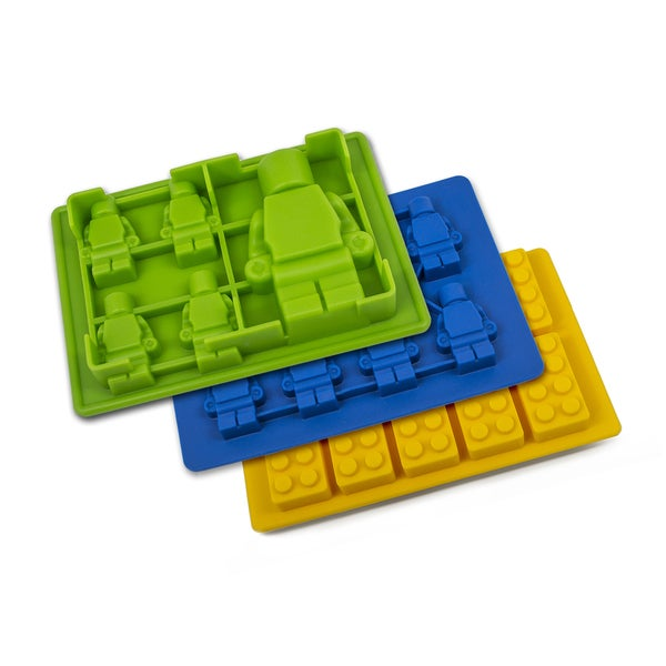 Sorbus Silicone LEGO Candy Mold and Ice Cube Tray with Building Bricks and Figures (Set of 3)