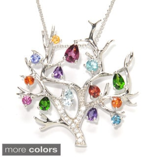 Sterling Silver Multi-gemstone Tree of Life Necklace