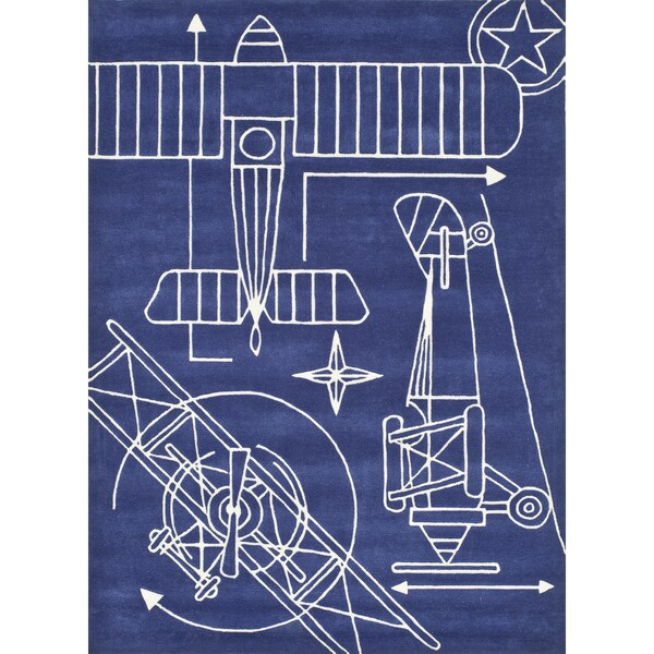 Momeni Lil Mo Airplane Blueprint Navy Rug 8 X 10