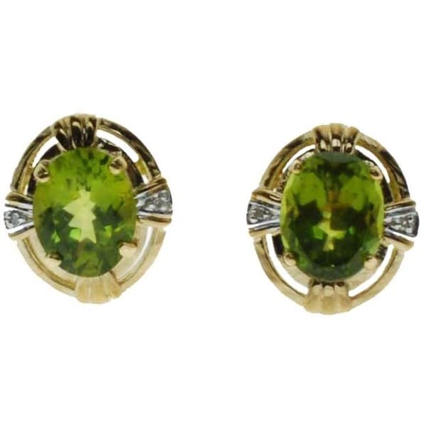 Kabella 14k Yellow Gold Oval Peridot Diamond Accent Stud Earrings