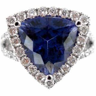 Kabella 18k White Gold Trillion-cut Tanzanite 1ct TDW Diamond Halo Ring (G-H, SI2-SI3) (Size 6.5)