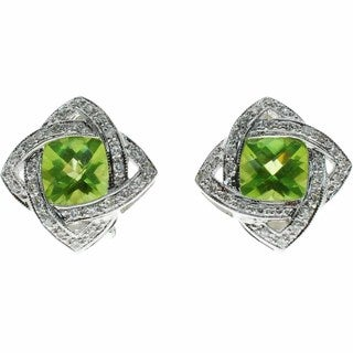 Kabella 14k White Gold Cushion-cut Peridot 1/2ct TDW Diamond Stud Earrings (G-H, SI1-SI2)