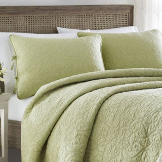 Laura Ashley Felicity Sage Cotton 3-piece Quilt Set