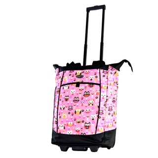 Olympia Pink Owls Fashion Rolling Shopper Tote