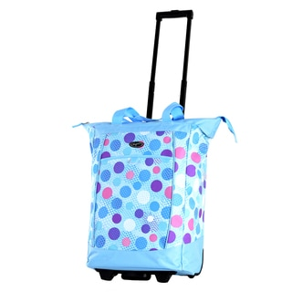 Olympia Blue Polka Dot Fashion Rolling Shopper Tote