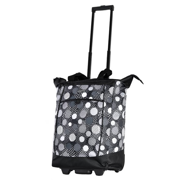Olympia Black Polka Dot Fashion Rolling Shopper Tote