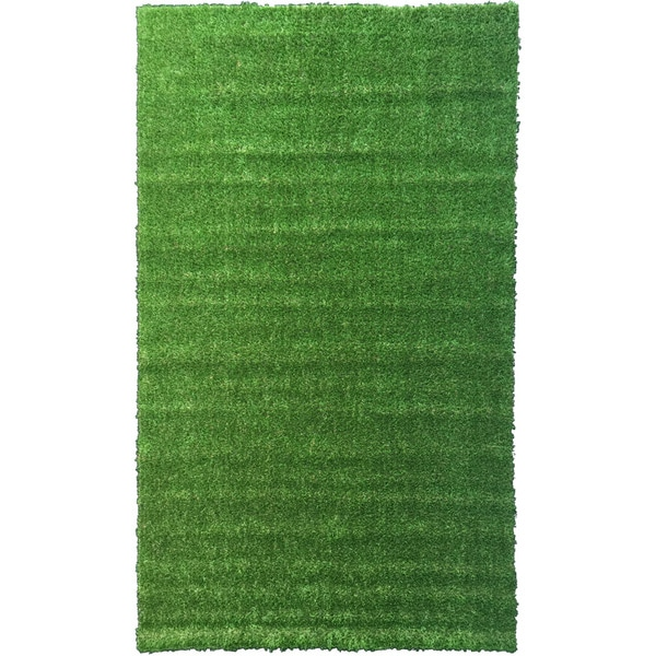 Garden Grass Collection Green Artificial Grass Design Area Rug (3'11 x 6'6)