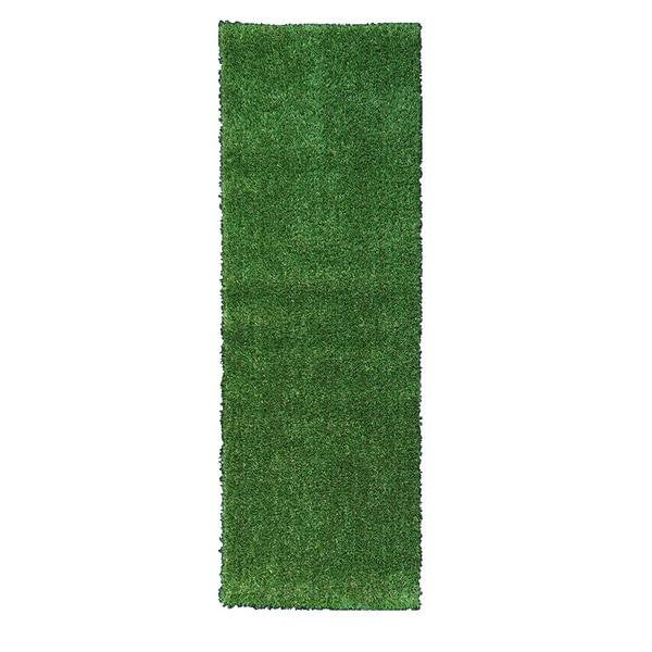 Garden Grass Collection Green Artificial Grass Design Area Rug (1'8 x 4'11)