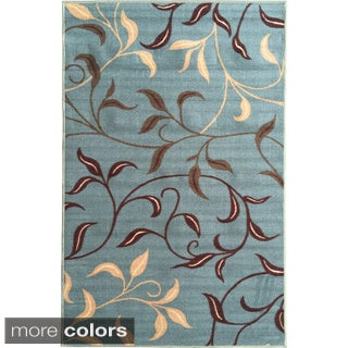 Ottomanson Ottohome Collection Sage Green / Aqua Blue Leaves Design Modern Non-skid Area Rug (2'7 x 4'1)