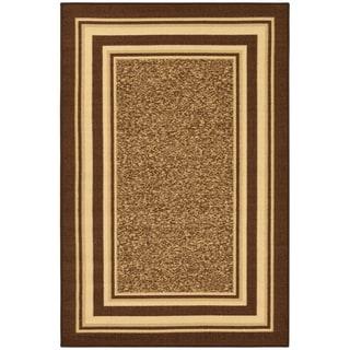 Ottomanson Ottohome Collection Brown Color Contemporary Bordered Design Non-skid Area Rug (2'7 x 4'1)