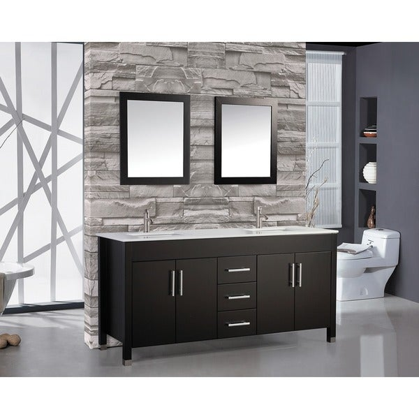 Mtd Vanities Monaco One Inch Double Sink Bathroom Vanity Set With Mirror And Faucet
