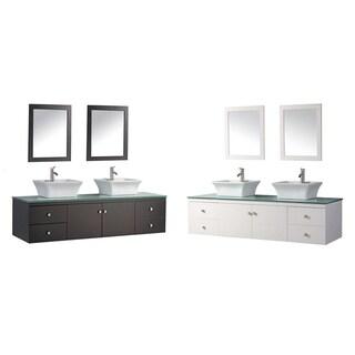 Inch Wall Mount Espresso Finished Floating Bathroom Vanity Set