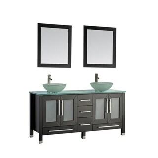 MTD Vanities Cuba 61-inch Double Sink Bathroom Vanity Set with Mirror and Faucet