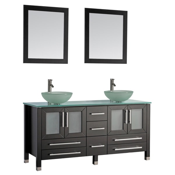 Vinnova Tuscany  Inch Grey Double Vanity With White Vessel Sink With