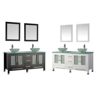 MTD Vanities Cuba 71-inch Double Sink Bathroom Vanity Set with Mirror and Faucet