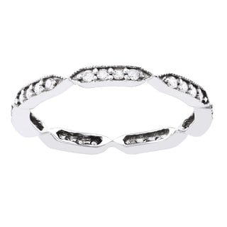 Beverly Hills Charm 10k White Gold 1/4ct TDW Diamond Eternity Stackable Milgrain Band ring (H-I, I2-I3)