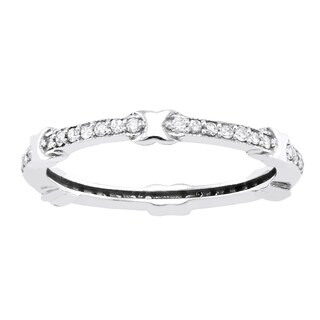 Beverly Hills Charm 10k White Gold 1/4ct TDW Diamond Eternity Stackable X Band ring (H-I, I2-I3)