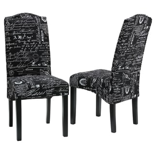 Cortesi Home Fletcher Dining Chair in Black Script Fabric (Set of 2)