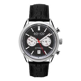 SO&CO New York Men's Monticello Quartz Black Leather Strap Watch