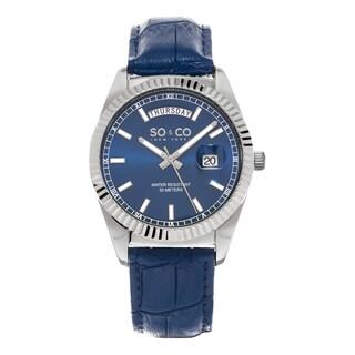 SO&CO New York Men's Madison Quartz Blue Leather Strap Watch
