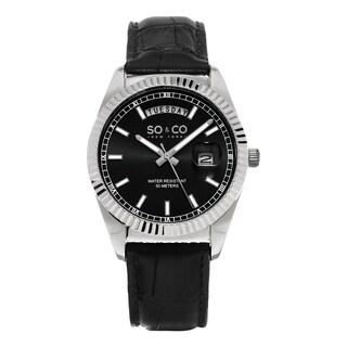 SO&CO New York Men's Madison Quartz Black Leather Strap Watch