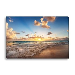 Gallery Direct FTOLIA 'Sunrise on the beach of Caribbean sea' Canvas Gallery Wrap