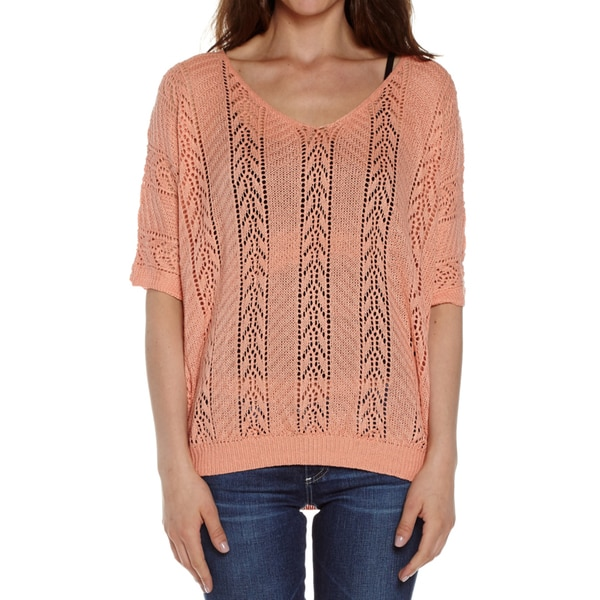 Dinamit Women's Cotton Knit Crochet V-Neck Sweater