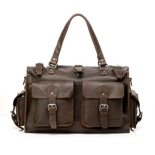 Vicenzo Leather Picasso Dark Brown Leather Carry On Satchel Tote Bag